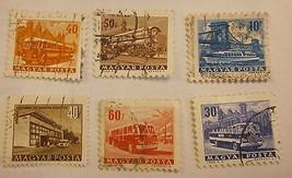 6 Transportation Stamps 1963 Bus Train Boat Hungary MAGYAR POSTA LÉGRÁDY - $3.00