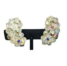 AURORA BOREALIS AB CRYSTAL CLIP ON EARRINGS Swirl Design J6209 - $28.49