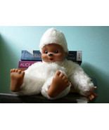 Geek Monchhichi boy 12 inch doll with white fur, brown face 1974s Toy pa... - $39.59