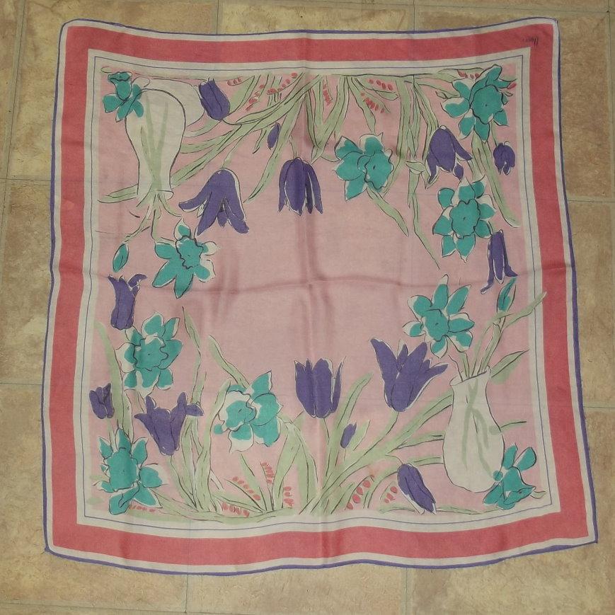 Silk Vera Scarf 30 inch square pink
