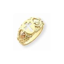 10 K Tri Color Black Hills Gold Satin Finish Women's/Ladies' Cross Ring   Size 6 - $262.35