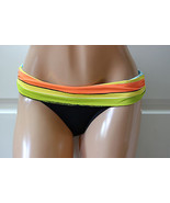 NWT NEW Anne Cole Signature Striped Flap Bikini Bottom Black-Multi Size ... - $5.73