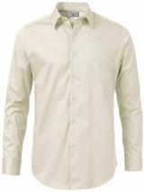 Boltini Italy Men's Ivory Long Sleeve Barrel Cuff Dress Shirt (Ivory, 4XL) image 2