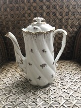 Limoges Coffee Pot Hand Painted Floral Design Purple Flowers Porcelain - $49.50