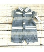 Carter's Baby Boy Striped Woven Romper One-Piece Outfit - New Born - $11.63