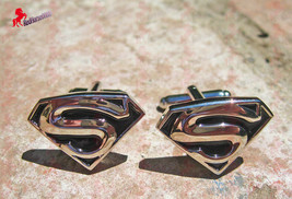 Superman Silver Plated Black and Silver Cufflinks - Wedding, Birthday Gifts - $3.95