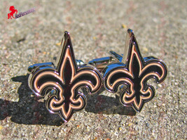New Orleans Saints Silver Plated Cufflinks- Wedding, Father's Day, Birthday Gift - $3.95