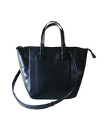 Zara Black Faux Leather Tote Shopper Shoulder B... - $18.00