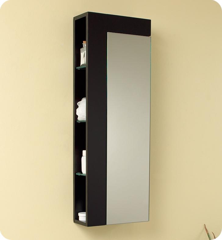 Fresca Espresso Bathroom Linen Side Cabinet w/ Large Mirror Door - $349.00