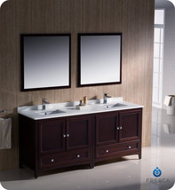 "Fresca Oxford 72"" Mahogany Traditional Double Sink Bathroom Vanity - $2,249.00"