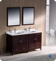 "Fresca Oxford 60"" Mahogany Traditional Double Sink Bathroom Vanity - $2,099.00"