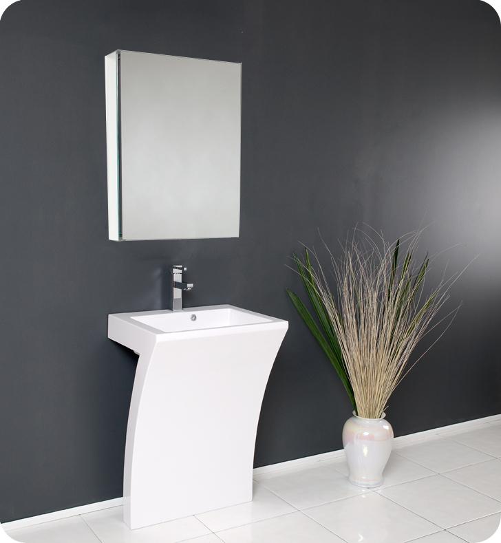 Fresca Quadro White Pedestal Sink w/ Medicine Cabinet - Modern Bathroom Vanity - $849.00