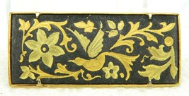 VTG 1940s Gold Tone Damascene Floral Bird Pin Brooch Trombone Clasp - $39.60