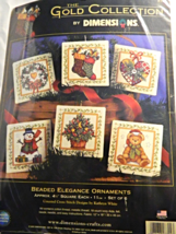 Dimensions BEADED ELEGANCE ORNAMENTS Counted Cross-Stitch Kit, Set of Six! - $35.00