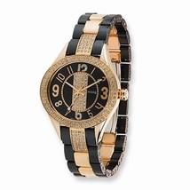 Moog Fashionista Rose Plated/Black Ceramic Watch  Swarovski Crystals  Swiss Mvmt - $410.85
