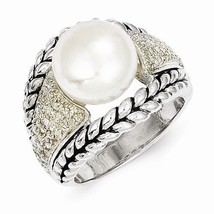 ANTIQUED STERLING SILVER 11mm FRESHWATER PEARL & .10ct DIAMOND RING -  S... - $119.82