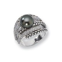 ANTIQUED STERLING SILVER 10mm TAHITIAN PEARL & DIAMOND RING -  SIZE 8 - £232.68 GBP