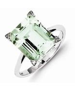 STERLING SILVER 5.5CT GREEN AMETHYST/QUARTZ & DIAMOND RING - SIZE 8 - $76.04
