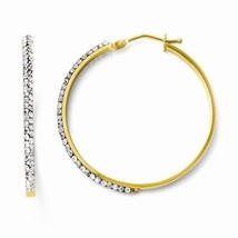 14K GOLD SWAROVSKI CRYSTAL MEDIUM HOOP EARRINGS / HOOPS  ITALY 2.2 grams... - $160.88