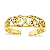 14K YELLOW .02CT DIAMOND OPEN FILIGREE SWIRL SCROLL TOE RING - £94.11 GBP