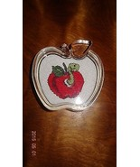 New Red Apple Paper Weight worm Finished Cross Stitch School Clear Teacher - $26.30