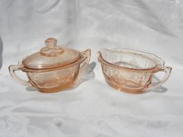 Pair of Vintage Hocking Princess Pink Depression Glass Creamer & Sugar w... - $64.99