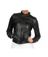 O womens biker black leather jacket 8e39 thumbtall