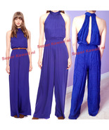 Forever21 Halter Open Back Wide Leg Pants Ruched Palazzo Overalls Club J... - $79.99