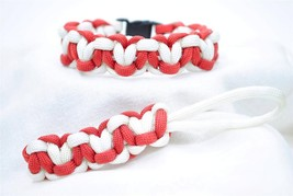 550 PARACORD SURVIVAL LOTS-A-HEARTS BRACELET & KEY FOB COMBO-BURNT RED &... - $5.50