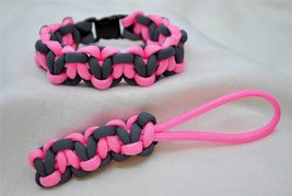 550 PARACORD SURVIVAL LOTS-A-HEARTS BRACELET & KEY FOB COMBO-PINK & GREY - $5.50
