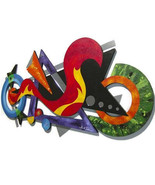 FunKy modern abstract wood, metal n Mirror wall sculpture,unique,colorfu... - $449.99