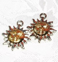 SILVER AND GOLD TONE SUN FINE PEWTER PENDANT CHARM - 3x22x18mm image 1
