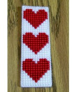 Valentine Bookmark, Plastic Canvas, Handmade, Plastic Canvas, Acrylic Yarn  - $7.00