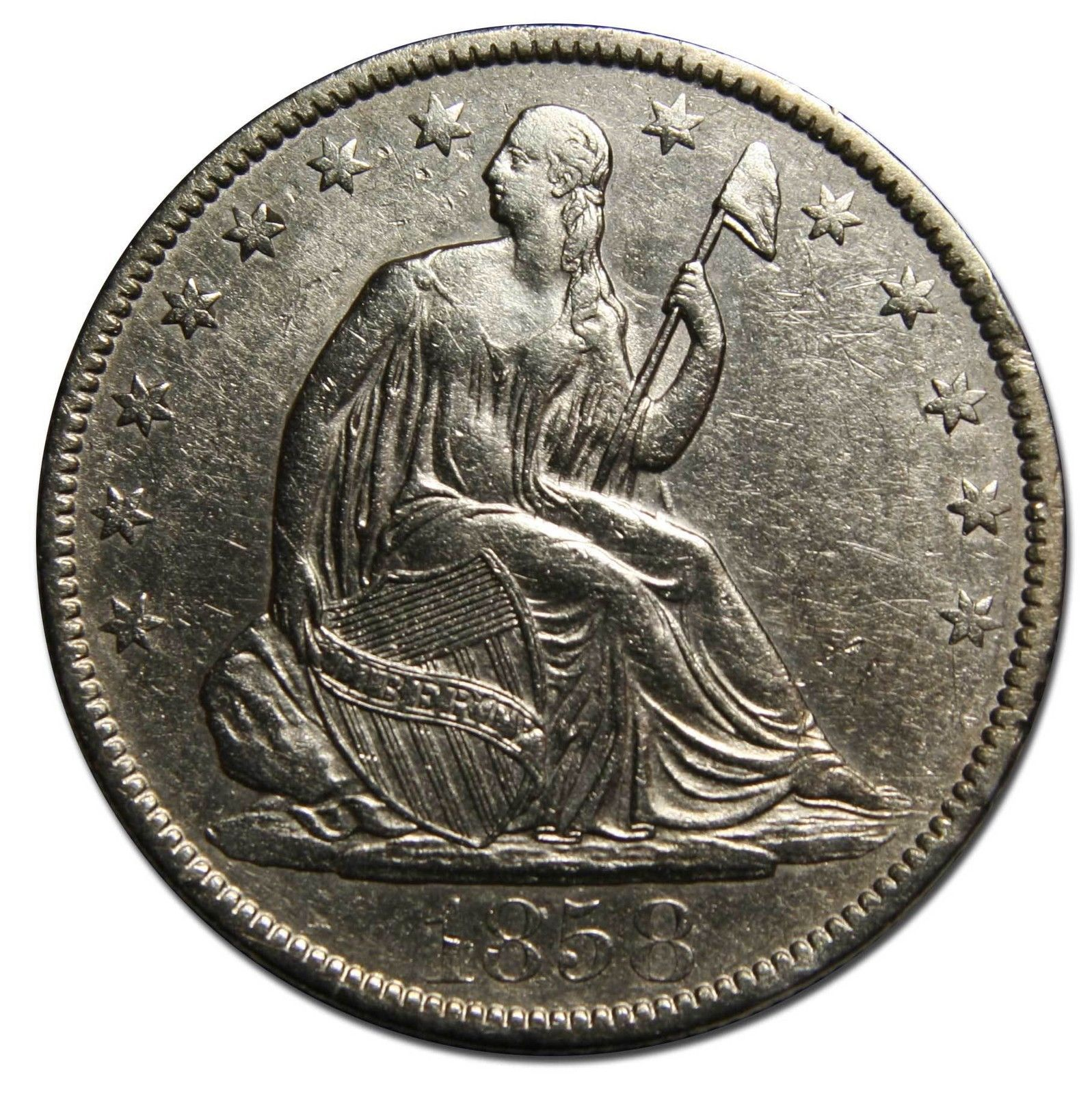 1858O Seated Silver Liberty Half Dollar 50¢ Coin Lot# MZ 4443