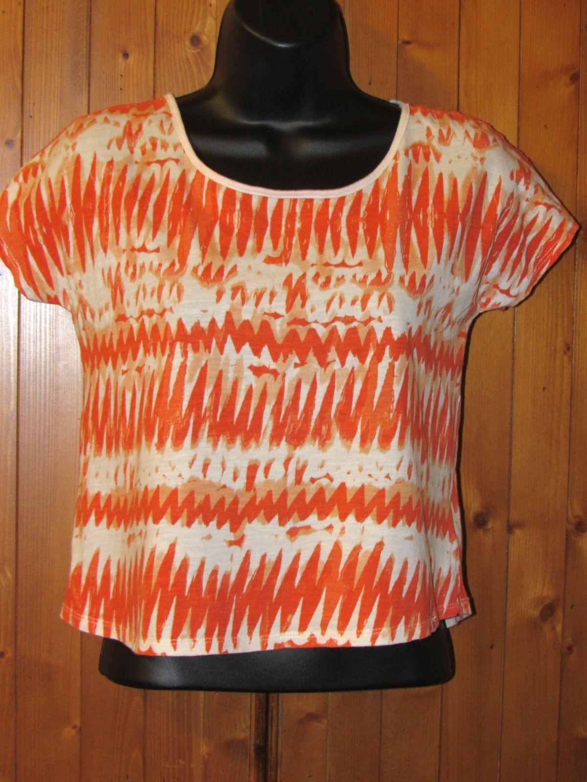 Lucky Brand Crop Top w/Back Lace Panel Multi-Colored Size: M