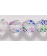 8mm Fire Polish, Crystal Striped, Czech Glass Beads 25 lt pink, green blue - $2.25
