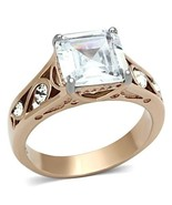 Two Tone Rose Gold Princess CZ Stainless Steel Engagement Ring, Size 5 - 10 - $22.99