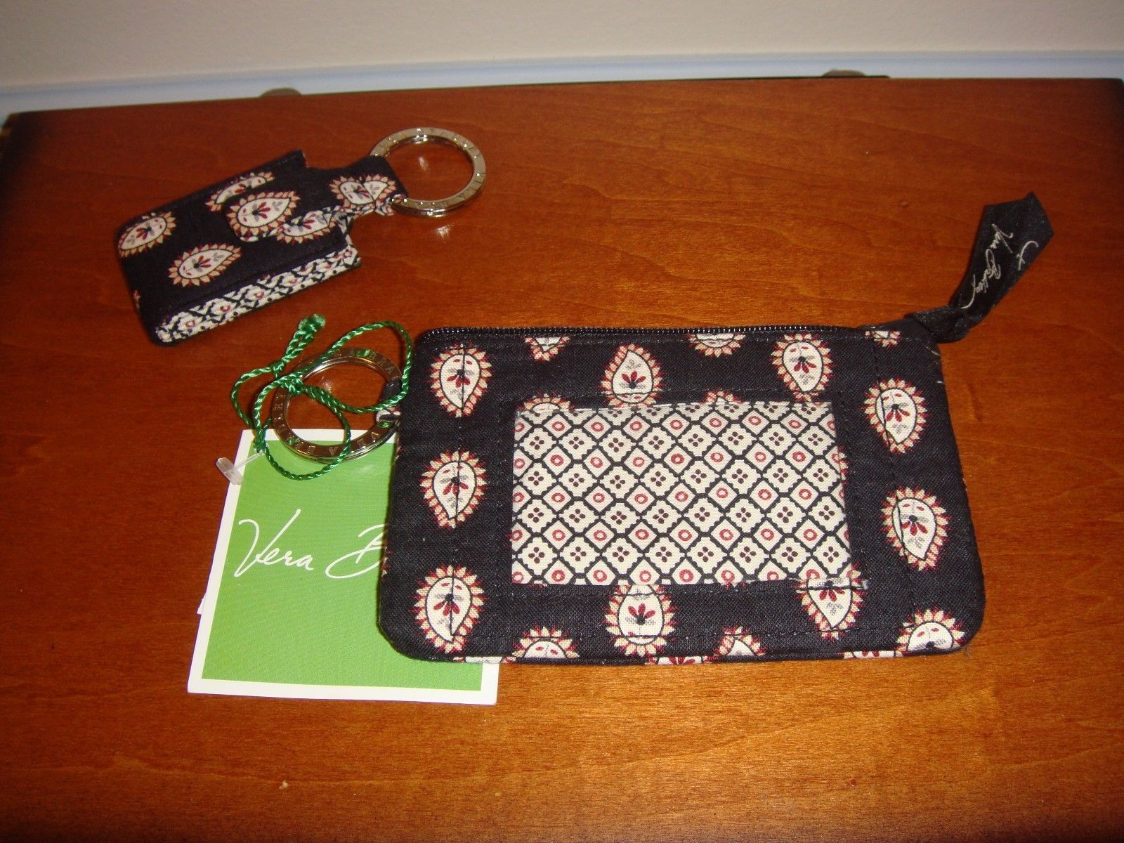 Vera Bradley Classic Black Zip ID Case And Photo Key Ring