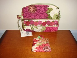 Vera Bradley Hello Dahlia Small Cosmetic And Two Way Mirror - $48.99