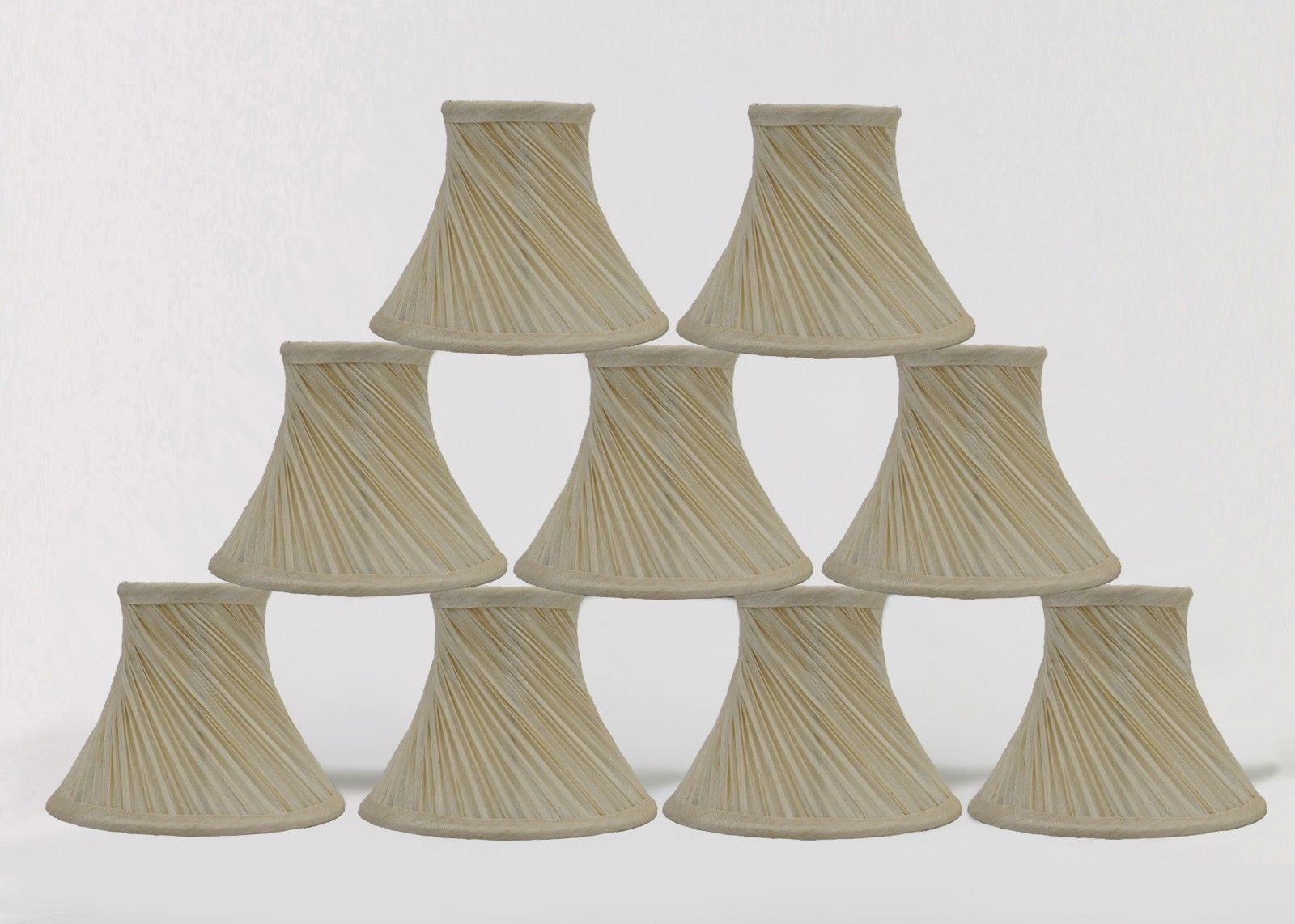 swirl pleated chandelier mini lamp shades clip on bell cream 3 x6 quot. Black Bedroom Furniture Sets. Home Design Ideas