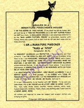 Rules In A Miniature Pinscher's House - $20.70