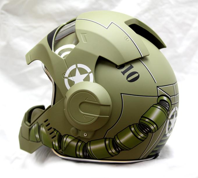 masei 610 gundam zaku matt army green motorcycle helmet