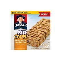 Quaker Big Chewy Peanut Butter Chocolate Chip Granola Bars, 5-Count 1.48... - $22.40