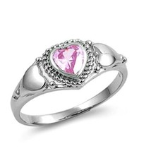 Sterling Silver Ring size 4 CZ Heart cut Kids Pink Ladies Engagement New... - $11.96