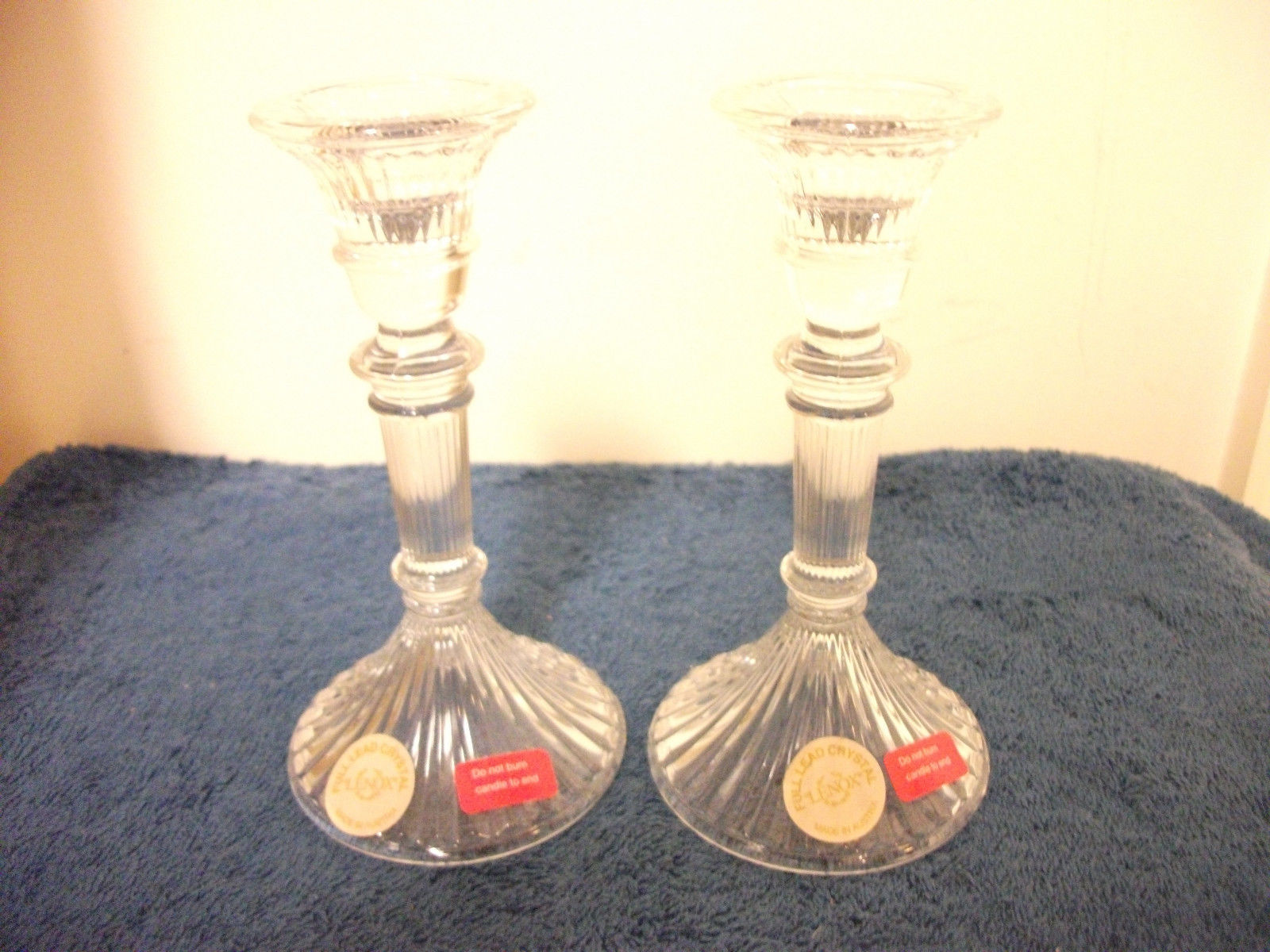 Primary image for LENOX CRYSTAL GLASS CANDLESTICK CANDLE STICK HOLDERS NEW