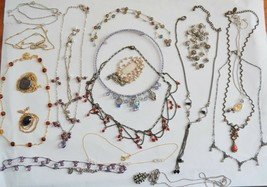 Vintage NECKLACE lot of 19 rhinestone fancy festoon gem bead drama fancy... - $35.63
