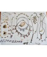Vintage NECKLACE lot of 19 rhinestone fancy festoon gem bead drama fancy... - $35.63