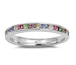 Sterling Silver ring size 10 CZ Rainbow Eternity Stackable Band Multi-co... - $12.78