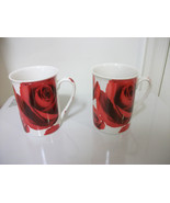 TWO FINECASA PORCELAIN CHINA COFFEE MUGS CUPS PRETTY ROSES NEW - $18.68