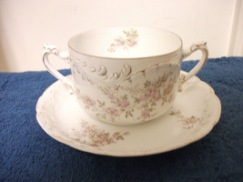 ROSENTHAL 2 HANDLE BOUILLON TEACUP & SAUCER SET VINTAGE ANTIQUE - $37.39